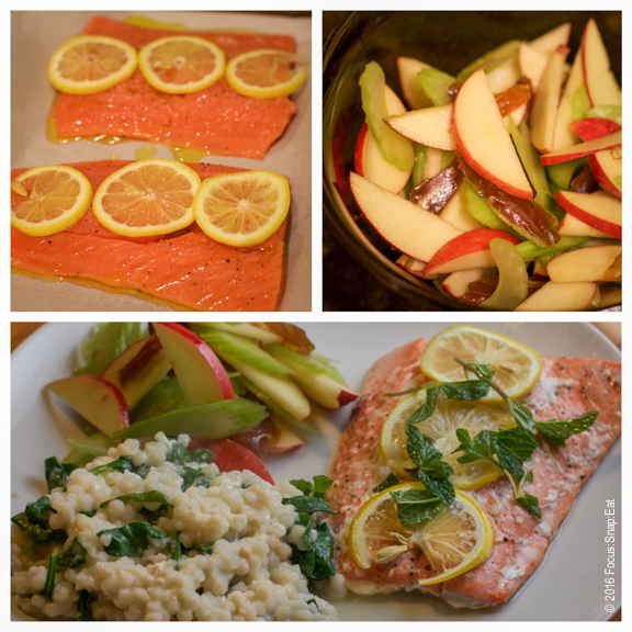 Salmon filets are roasted and served with an apple salad and couscous.