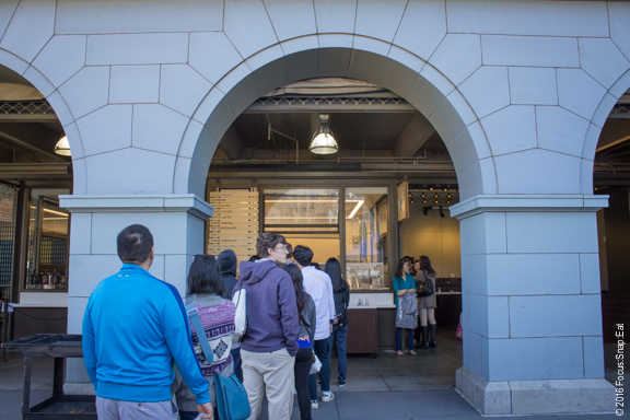 Even outside there's a line for the Blue Bottle Coffee kiosk.