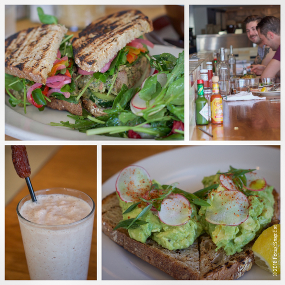 From top left: Grilled chicken salad sandwich ($13); the counter; avocado toast ($9) with shaved radish; date shake ($7)