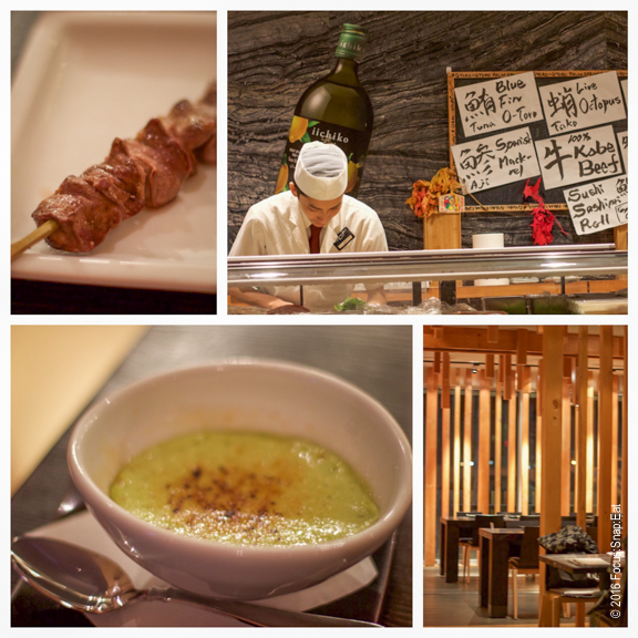 From top left: Beef tongue skewer; the sushi counter; the sleek dining room; matcha green tea creme brulee