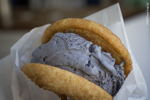 Ice cream sandwich (more like burgers) made with black sesame ice cream and snickerdoodle.