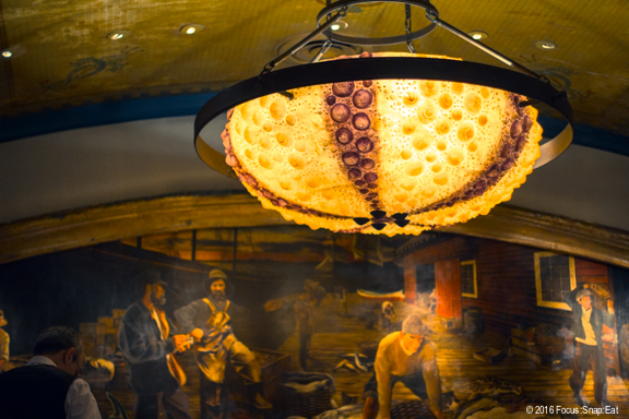 Oceanic theme is in-your-face at Farallon with lighting such as these huge urchin chandeliers in the main dining room.