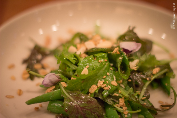 snap peas salad at Coquine via Focus:Snap:Eat blog