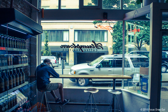 Counter window seats at the Stumptown Cafe in Downtown.