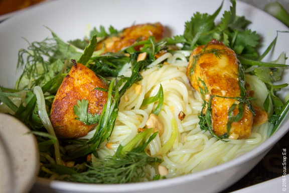 A closer look at the rice noodles in the Cha Ca. I loved the catfish but the noodles were a bit bland.