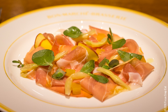 Jambon de Bayonne with compressed peaches, and pickled yellow wax beans.