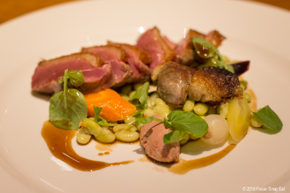 Roasted duck breast with flageolot beans and sauce poirverade