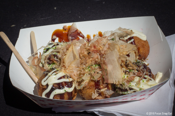 Takoyaki made by Hirotako from San Jose were well done with large chunks of octopus inside these popular Japanese street food.