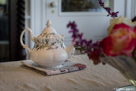 Enjoying afternoon tea in the dining room.
