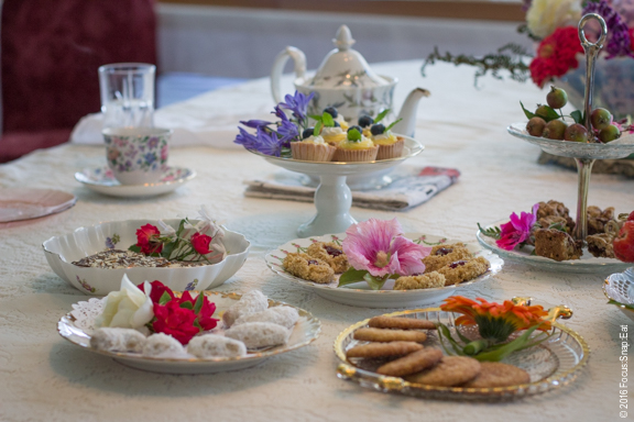 After all the savory dishes were cleared, the volunteers brought all this dessert dishes.