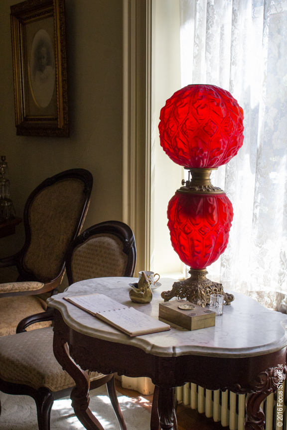 Pop of color with this lamp in the living room.