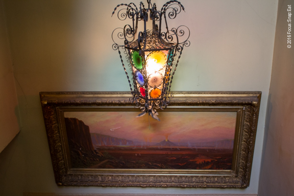 Eclectic lamp offers a flavor of the decor in the house.