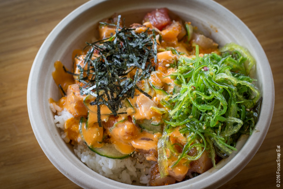 My poke bowl was more restrained, although I did get the spicy miso aioli.