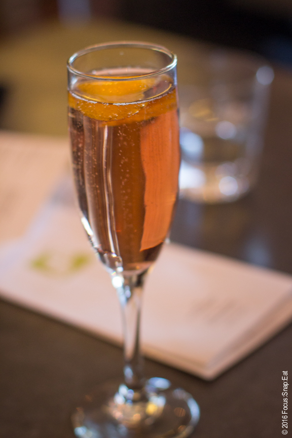 Angel ordered the Kir Royale ($8) made with Chambord raspberry liqueur topped with champagne.
