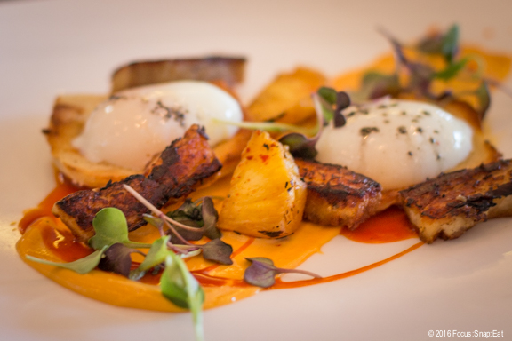 Eggs Benedict with pork belly at Jam via Focus:Snap:Eat