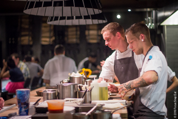 Some of the chefs at work in the open kitchen