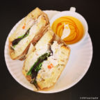 Fall chicken salad sandwich with cup of chilled pumpkin soup ($13)