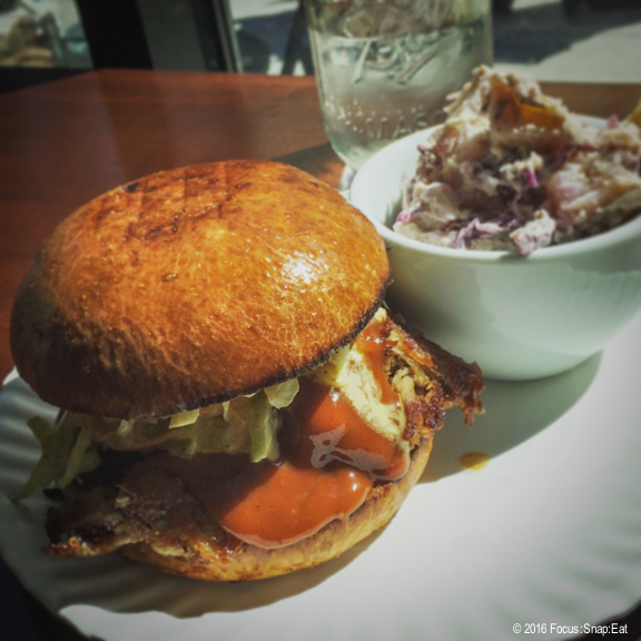 My favorite pulled pork sandwich with creamy coleslaw, housemade BBQ sauce, B&B pickles on a brioche bun served with a side of potato salad, $13.