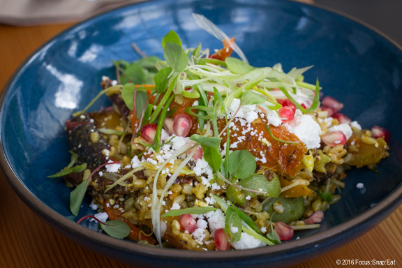 Salad of roasted carrots, green farro, sunflower, pomegranate, and feta in a curry dressing, $10