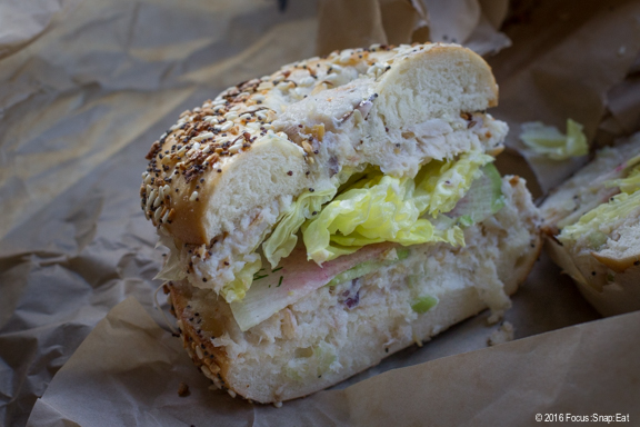 Smoked trout salad bagel sandwich at Wise Sons via Focus:Snap:Eat blog