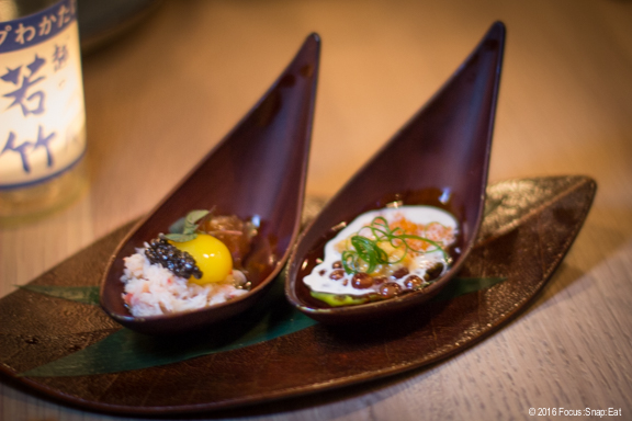 Chef's Spoon ($12) with sweet shrimp, red crab, sesame, quail egg and micro shiso (left) and tobiko, oyster, salmon roe, caviar and scallion (right).