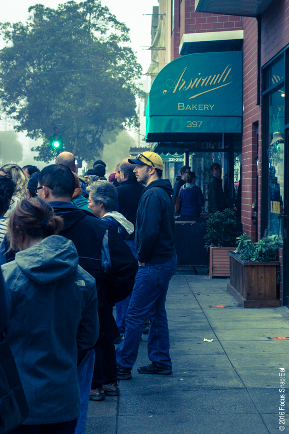 Waiting in line on a misty Sunday morning to get inside the tiny Arsicault Bakery in San Francisco.