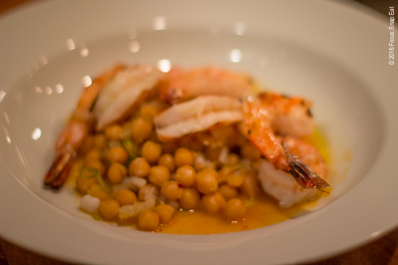 Grilled shrimp with chickpeas and fennel ($18)