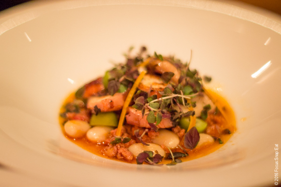 Confit octopus ($15) with chorizo, butter beans, preserved meyer lemon, shiso, and castelvetrano olives.