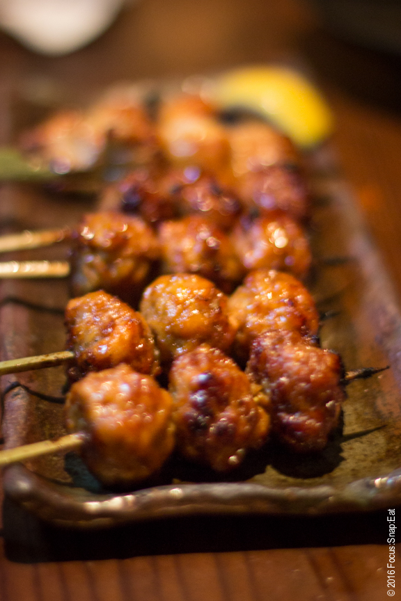 Two orders of tsukune meatballs ($7 each) along with duck breast ($11)