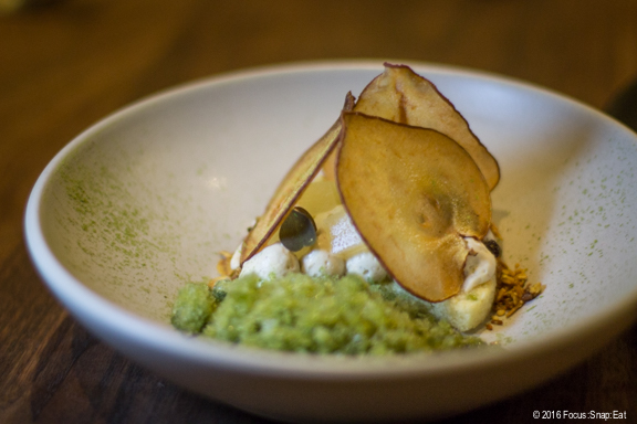 Pear dessert ($12) with mint, mecalef, and maple.