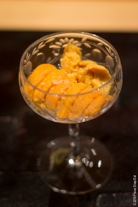Two types of uni or sea urchin served in a champagne glass (one came from Hokkaido and the other from Maine)