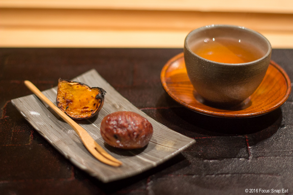 Traditional season dessert of chestnut with a side of charred sweet potato. Wash them down with a cup of hochicha.