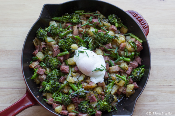 Pastrami Hash with Broccolini recipe via Focus:Snap:Eat food blog.