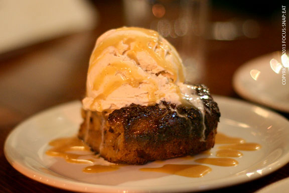 Dessert was a delicious bread pudding with a generous scoop of ice cream