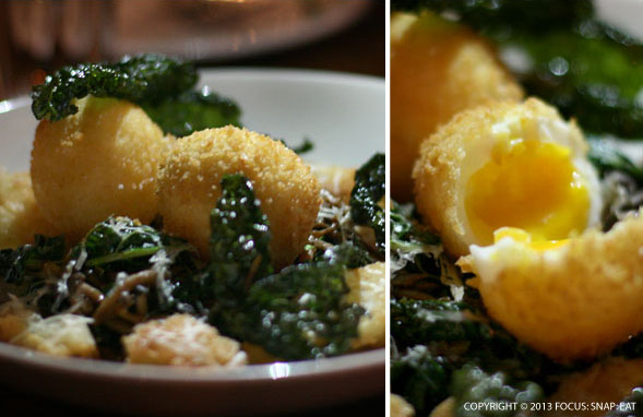 Special Kale Salad with panko-encrusted fried soft-boiled egg (soon to be on the menu)