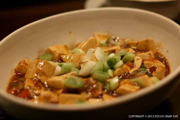Mapo Tofu ($8). This traditional dish is made with organic tofu and made vegan by removing the typical ground pork. It's still a hearty addition.