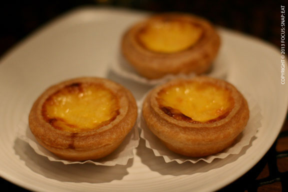 Macau-style egg tarts ($6) are traditional egg custard tarts but with a caramelized top.