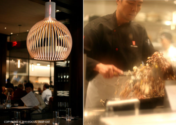 Bamboo lighting (left) adds a contemporary touch to the room; a chef at the wok station