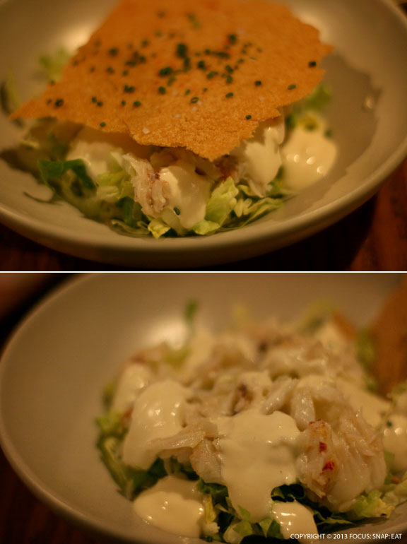 Dungeness crab salad ($13) topped by a thin square saltine cracker (top). The bottom photo gives a better look at the crab meat in the salad with classic Crab Louie dressing.