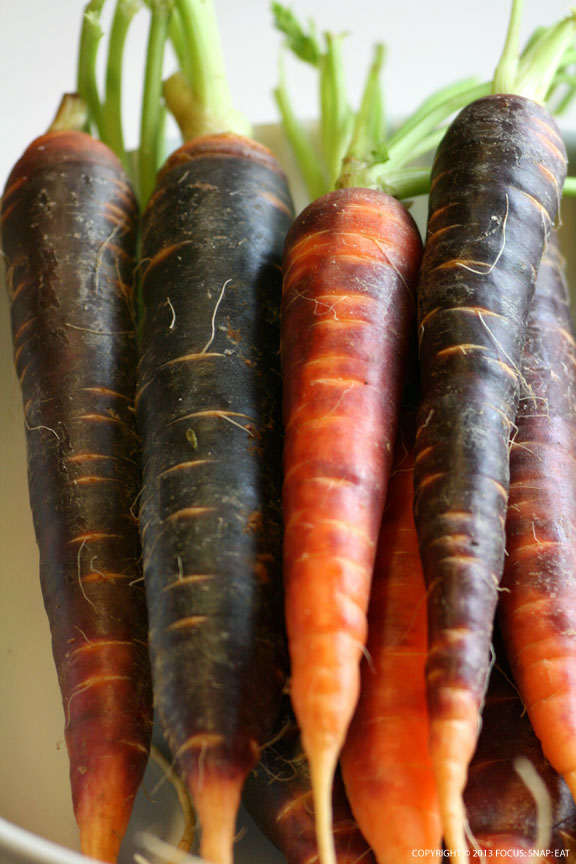 Purple heirloom carrots look beautiful but will turn your soup light purple