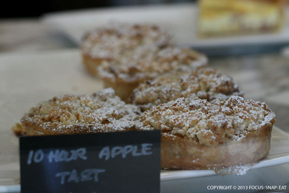 10-hour apple tart with apple confit, almond streusel and pate brisee