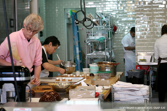 The open kitchen is busy these early days of b. patisserie's opening