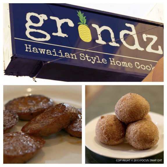 Grindz offers recognizable Hawaiian favorites like Portuguese sausages and malasadas (Portuguese-style doughnuts). They weren't exactly like what I'm used to in Hawaii, but they were good in their own right.