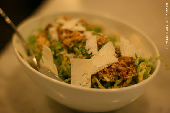 Brussels sprout salad ($9) with shallot, almond, and capricious