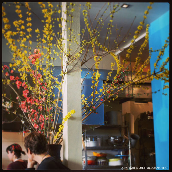 A large spray of spring blossoms is a focal point at the bar