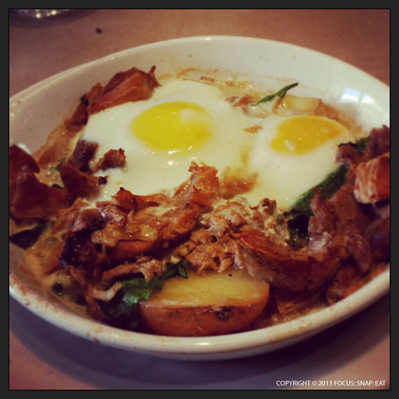 Baked eggs with braised pork, brocolli di riccolo, and new potatoes ($17)