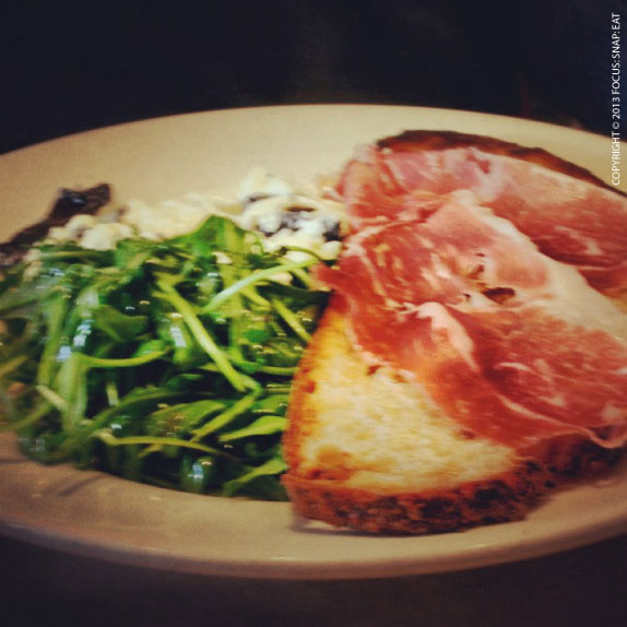 Scrambled eggs with prosciutto toast and arugula salad ($17) (Note: Craig's eggs might look plain because he requested them with whites only)