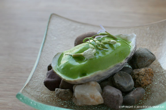 Pacific oyster with mustard cream and mousse of pea leaves