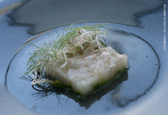 Halibut spiced with nasturtium leaf, sprouting radish and toasted oat vinegar
