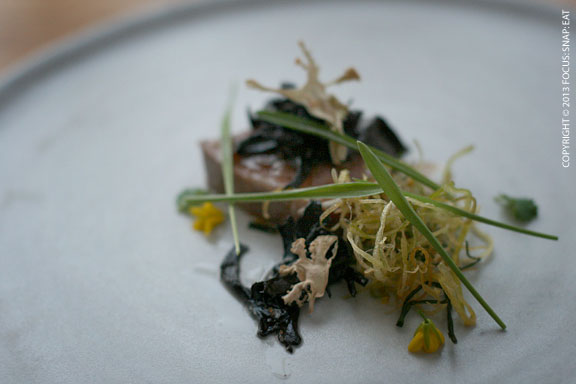 Calf's saddled roasted in salted butter, young green garlic and grasses